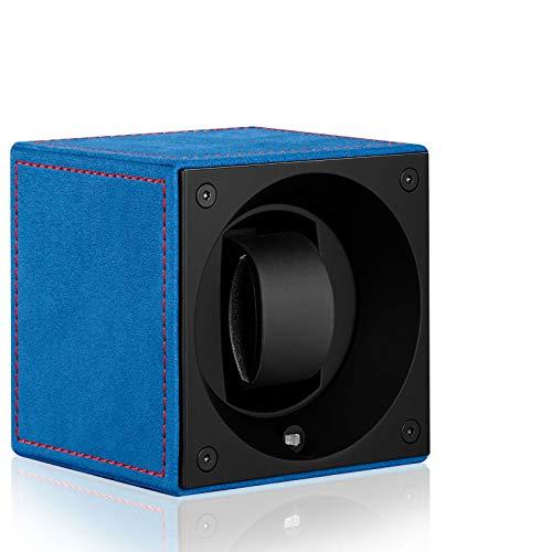 Swiss Kubik Velour Passion blauw/rode siernaad op batterijen voor 1 automatische klok