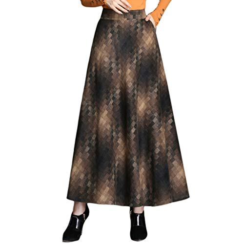 Byqny Wolle Retro Elegante Winterkleider Damen Vintage Karierter Maxi Winterkleid Rock Knielang Röcke Midi Gestreifter Stufenrock Flared Lang Röcke 2# Kaffee M