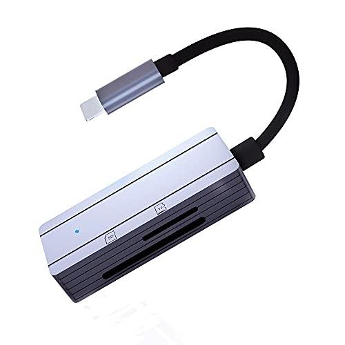 sunshot - Lettore di schede SD/TF per iPhone/iPad, lettore di schede di memoria portatile, adattatore per lettore di schede SD/TF, plug and play, non richiede app, alta velocità di trasferimento