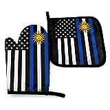 Wenxiupin 2er Set USA Uruguay Mix Flagge USA South Dakota Mix Fahne Ofenhandschuhe und Topflappen BBQ Handschuhe - Ofenhandschuhe und Topflappen Kochhandschuhe für Küche Kochen Backen...