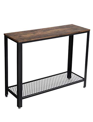 VASAGLE Konsolentisch Holz und Metall im Industrie-Design, Stabiler Beistelltisch, Flurtisch, für den Eingang, Wohnzimmer, einfache Montage, Vintage, LNT80X