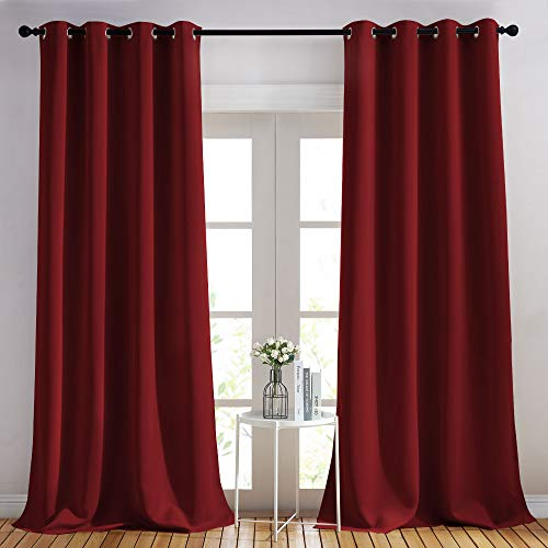 NICETOWN Burgundy Red Blackout Draperies Curtains - Pair of Grommet Top Thermal Insulated Blackout Decorative Curtains for Large Window Decor(52 inches Wide by 95 inches Long)
