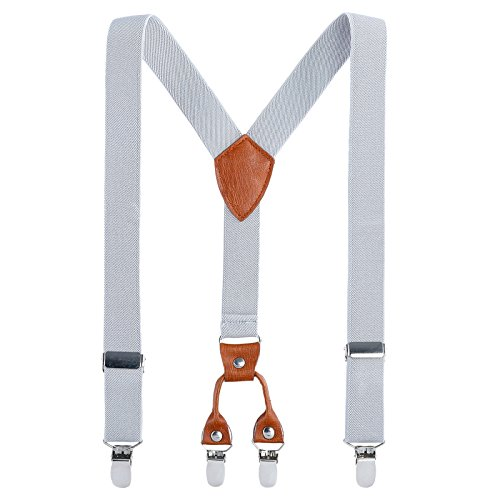 Kids Child Men Boy Suspenders - Adjustable Elastic Solid Color 4 Strong Clips Braces (31Inches (9 Years to 5 Feet Tall), Gray)
