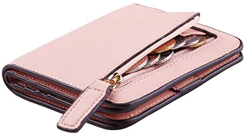 Toughergun Womens Rfid Blocking Small Compact Bifold Luxury Genuine Leather Pocket Wallet Ladies Mini Purse with ID Window (09 ReNapa Pink Lotus)