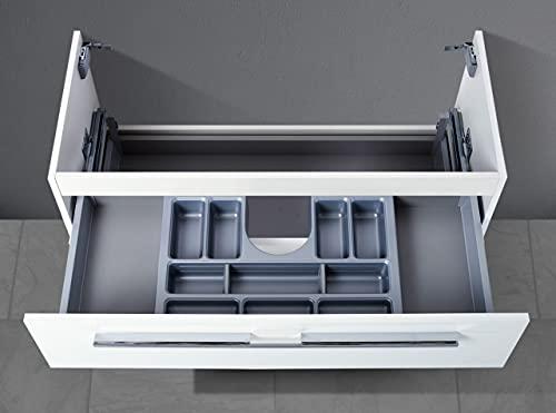 Intarbad ~ Waschtisch Unterschrank als Zubehör für MyStyle 85 cm Waschtisch, mit Kosmetikeinsatz Weiß Hochglanz Lack IB5043