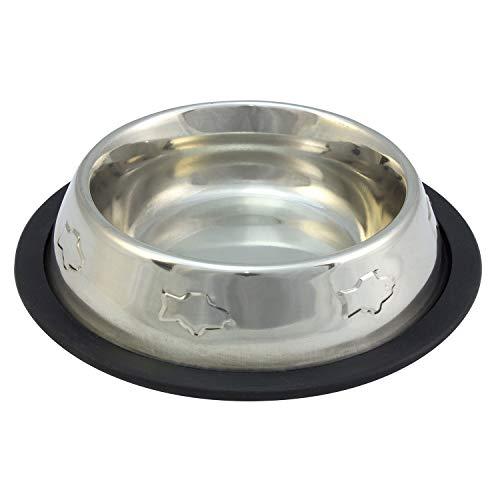 Arquivet Comedero perro gato mascotas - inoxidable antideslizante decorado - 240 ml / 15,5 cm
