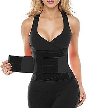 SHAPERX Women Waist Trainer Belt Waist Trimmer Belly Band Body Shaper Sports Girdles Workout Belt  SZ8002-Black,Medium