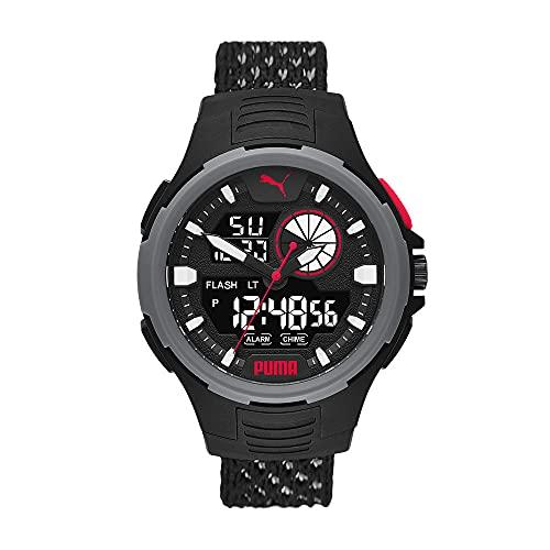 PUMA Herren Bold Analog-Digital Three-Hand, Schwarz Polycarbonate Uhr, P5073