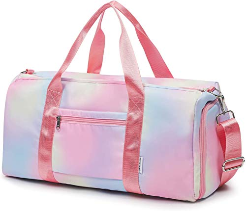 FITMYFAVO Weekender Duffel Sport Gym Bag for Women Girls Travel Weekender Bag Overnight Dance Duffle Bag with Shoes Compartment Wet Pocket