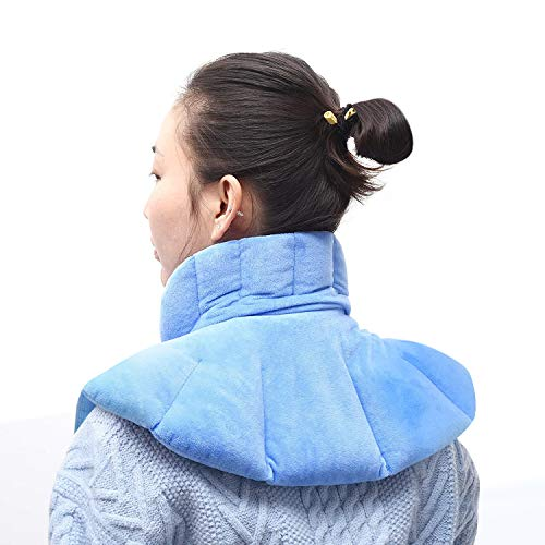 Microwave Heating Pad for Neck & Shoulder, Hot & Cold Herbal Wrap Pad for Pain Relief,Muscle Relaxation.Use in Microwave or Freezer. Flannel Wrap, Include Lavender, Linseed