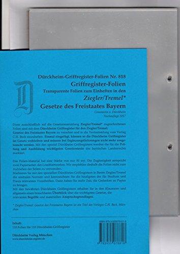 DürckheimRegister-FOLIEN Nr. 818 für den Ziegler/Tremel: 130 transparente FOLIEN für SCHÖNFELDER, SARTORIUS oder STEUERGESETZE und andere rote ... H. Beck zum Einheften der DürckheimRegister