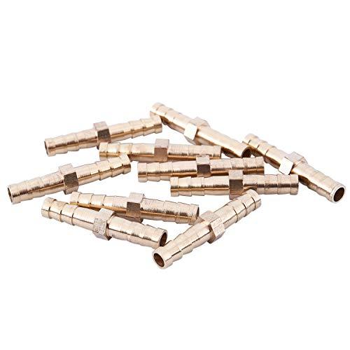 Fltaheroo 10 pezzi in ottone 6 mm dritto per attacco rapido del tubo, dorato