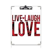 カスタム クリップボード クリップファイル ライブ笑い愛の装飾 事務用品の文房具 (2個)マクロローズの花びらテクスチャ印刷タイポグラフィモンタージュの言葉
