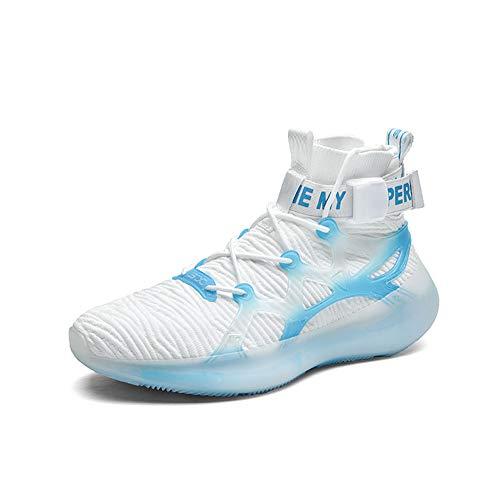 Blaue und weiße Kontrastluftkissen-Basketballschuhe,40EU