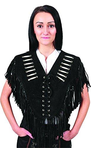 Western Collar Leder Poncho Damen mit Fransen Straßenkarneval Wildleder verziert - XS - 2XL lang- 3 Farben- Schwarz, hell Braun, Cognac (L, Schwarz)