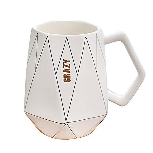 Theekopjes, 450 Ml Creatieve Keramische Koffiemok 3d Melk Mok Voor Meisjes Boy Grote Theemokken Met Gouden Handvat Office Theekop Porcelan 6.5 * 11cm Wit