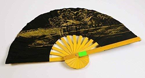 E + N Éventails Asie Chine Décoration Murale Wand-Schmuck Noir-Or Bxh : 42x25cm, Bambou, Tissu Peint à la Main