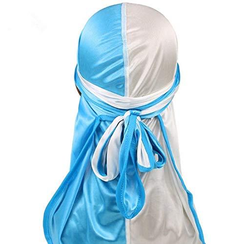 Zhangl Apparel Accessoires Double Couleur Satin Soie Longue Queue Pirate Chapeau Turban Chapeau Chimothérapie Bonnet (Blanc + Bleu Bébé) Accessoires Vêtements Blanc + bleu layette.