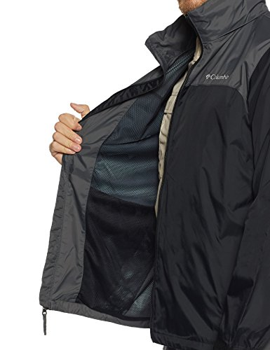 Columbia Men's Glennaker Lake Front-Zip Rain Jacket with Hideaway Hood, Black/Grill, Large