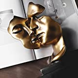 NGLSCXR Dorado Beso Pareja de Oro Pareja máscara Resina Modelo decoración Abstracto Adorno romántico Hecho a Mano Abstracta Arte Beso Pareja Estatua para la Entrada, habitación Creativa