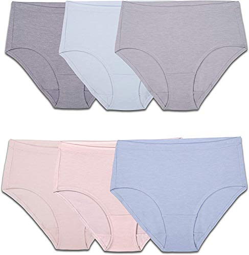 Fruit of the Loom Women's Underwear Panties (Regular & Plus Size), Low Rise Brief - Modal - 6 Pack, 9