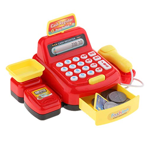 LiChaoWen Juguete Cash Register Shopping Pretend Play Machine para y Regalos Caja registradora de Juguete (Color : Red, Size : 18 x 9 x 12.5cm)