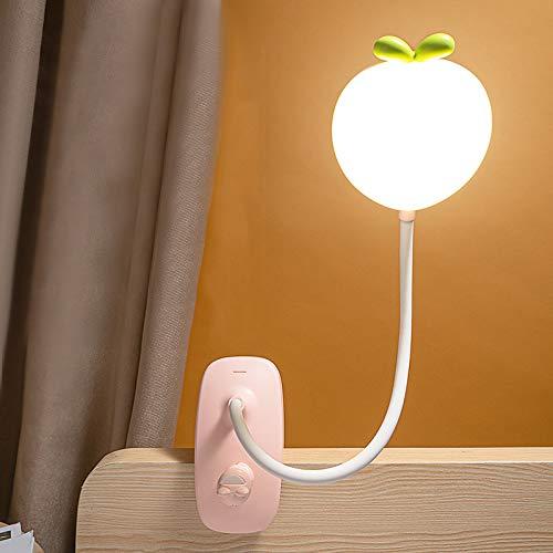 HKLY Lampada Con Pinza Ricaricabile USB, Lampada Lettura Flessibile 3 Colori E 5 Luminosità Toccare...