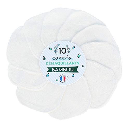 10 Carrés Démaquillants en Bambou - Lingettes lavables et réutilisables, Cotons lavables pour tous types de peau, nettoyage visage et yeux - carrés démaquillants écologiques - Fabrication Française