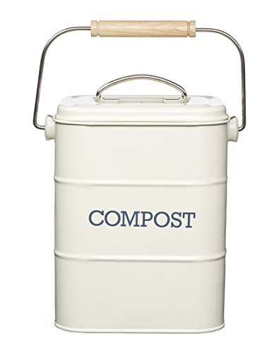 Find Discount Kitchen Craft Living Nostalgia Steel Compost Bin, 3 litres-Antique Cream