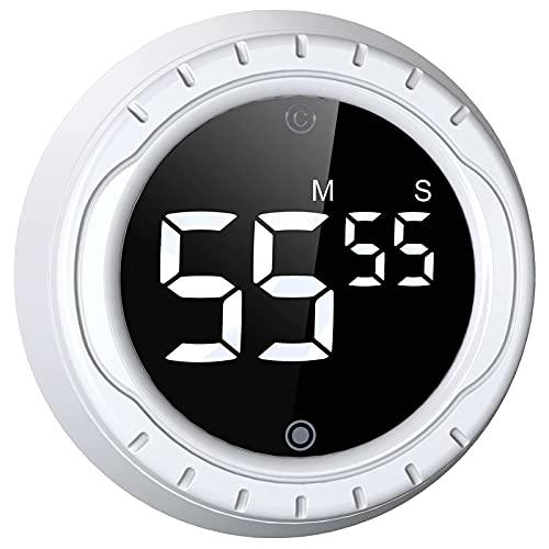 BALDR Timer da Cucina Digitale, Cronometro Digitale a LED con Conto alla Rovescia Magnetico,Timer Magnetico per Uova, Un Pulsante Facile da Usare Ideale per Cucinare, cuocere, Sport(Bianco)
