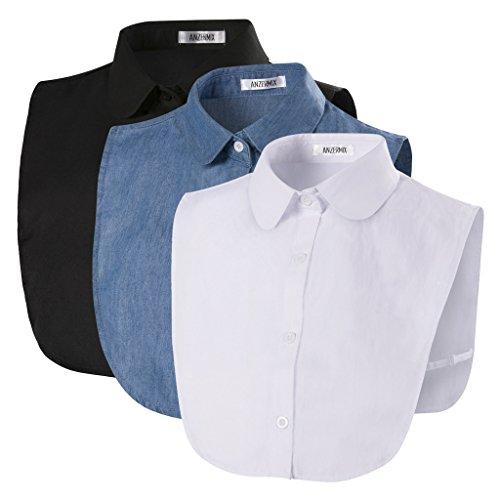 Anzermix Damen Kragen Abnehmbare Hälfte Shirt Bluse In Baumwolle Klassisches 3er Pack