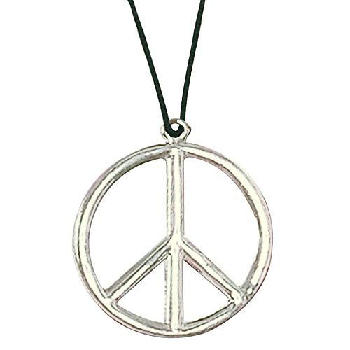 Widmann 1690F - Hippie Halskette aus Metall, Silber, Peace, Hippie, Reggae