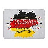 Kanaite Alfombra de baño Caligrafía Día Abstracto Etiqueta de Unidad Alemana Der Deutschen Einheit Saludo de Vacaciones Letras Curva Decoración de baño Alfombra