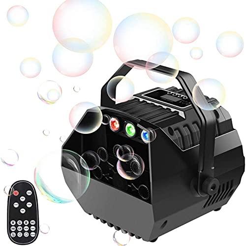 U`King - Máquina de pompas de jabón pequeña con luces RGB, máquina de burbujas automática, mando a distancia, para niños, fiestas, bodas, soplador de burbujas