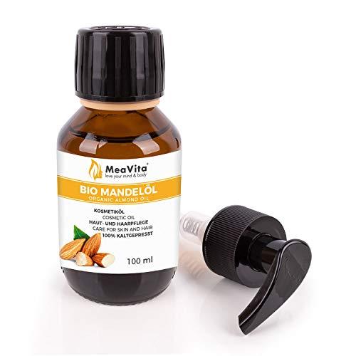 MeaVita Bio Mandelöl, süß, 100{209d36dfcb7d88a1f8a02a870a595a41d55dbbb63ec924f9a4cfbba40e2137f6} rein & kaltgepresst, 1er Pack (1 x 100 ml), vegan, gentechnikfrei, ideal zur Haut- und Haarpflege, für Aromatherapie & als Basisöl für Massageöle oder Naturkosmetik
