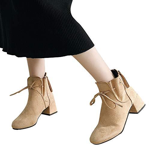 Mymyguoe Frauen Freizeit Stiefeletten Vintage Frauen Blockabsatz PU Scrub Leder Knöchel Stiefeletten Segelschuhe Mokassin Sneaker