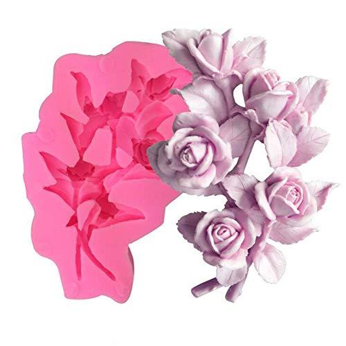 Sugarcraft Rose Blume Silikonform DIY 3D Fondant Form Cupcake Kuchen Dekorieren Werkzeuge Kuchen Kekse Polymer Ton Backformen Seife Gips Harz Ton Formen Schokolade Blütenpaste Form Küche Backwaren