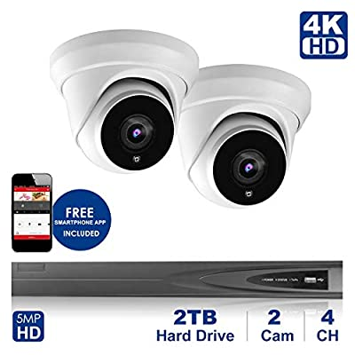 4K 4 CH NVR with Home Security System with 5MP IP Poe 2 Turret Security Dome Camera?Plug and Play,Remote Home Monitoring System,2TB Storage (4 Channel System, 2pcs Dome Camera)