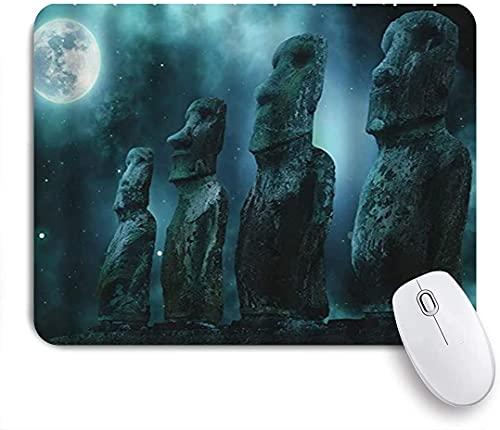 Gaming Mouse Pads, Noche de luna Impresionante Estatua de Piedra Gigante Estatua Misteriosa Impresión de la escena, Base de goma antideslizante Materias de ratón para portátil, computadora, hogar, ofi
