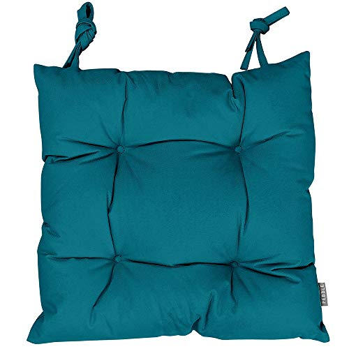 Bean Bag Bazaar Chesterfield Style Seat Pads, Pack of 4, Teal Green, 35cm x 35cm Indoor Outdoor Garden Dining Room Chair Pad Cushions