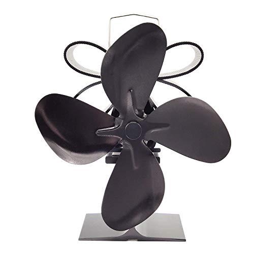 litty089 Ventilador De La Estufa, Distribución Silenciosa del Calor De La Fan De La Estufa De 4 Cuchillas De La Chimenea Casera Accionada por Calor S