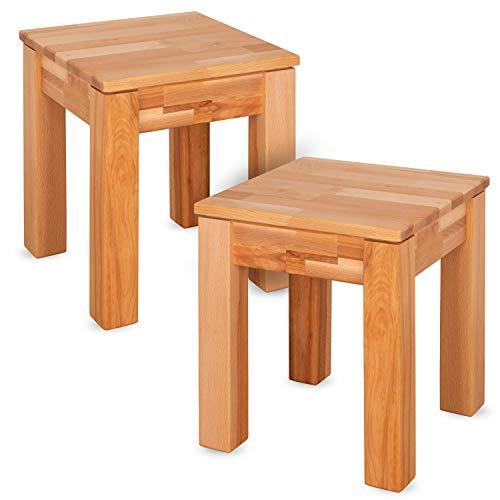 Staboos 2er Set - Buche Sitzhocker Holz - Massiv Holzhocker bis 200 kg - Kernbuche Holz Hocker ohne Eingriff - als Nachttisch nutzbar - 36x36x45cm