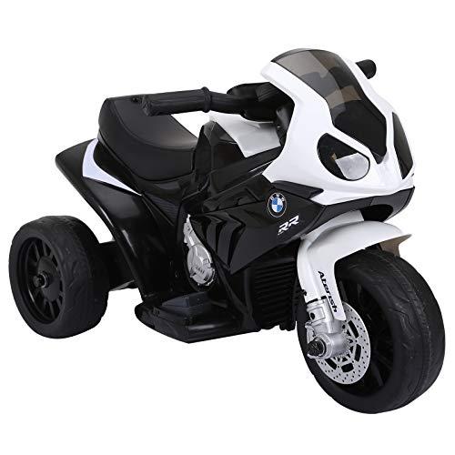 homcom Moto Elettrica per Bambini Max. 20kg con Licenza BMW, 3 Ruote, Batteria Ricaricabile 6V, Bianca Nera, 66x37x44cm