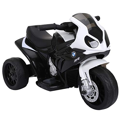 HOMCOM Compatible para Electric Motobicicleta para Niños 18-36 Meses con Faros Música Batería de 6V Negro BMW S1000RR