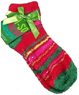 Bath & Body Works Accessories Oh-So Cozy Fresh Cotton Scented & Shea-Infused Lounge Socks - Red & Green Horizontal Stripes
