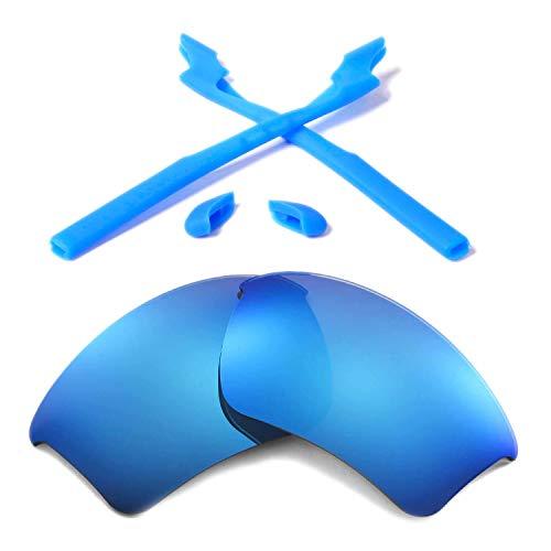 Walleva Wechselgläser Und Earsocks für Oakley Half Jacket 2.0 XL Sonnenbrille - Mehrfache Optionen (Eisblau Polarisierte Linsen + Blauer Gummi)