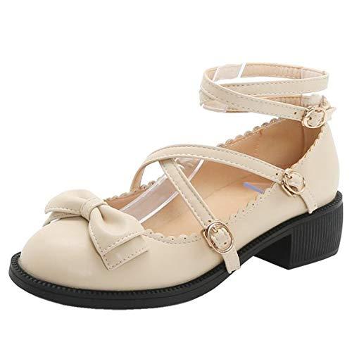 CularAcci Damen Lolita Schuhe mit Bogen Blockabsatzs Riemchen Pumps Apricot Gr 40 Asiatisch