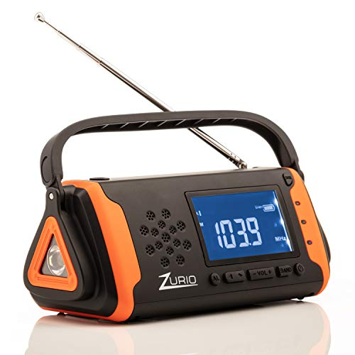 Emergency Radio with NOAA Weather Alert – Hand Crank & Solar Power – AM FM Survival Shortwave Radio with Flashlight, Cell Phone Charger, SOS Alarm, Battery Backup, Bonus Survival Whistle