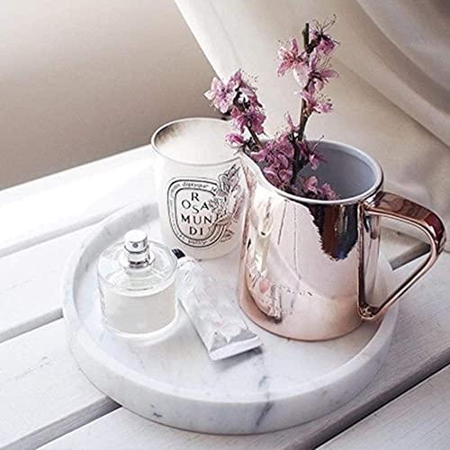 GHJA Bandeja de joyería Bandeja de cosméticos Bandeja de mármol Mesa de Centro de Cocina Redonda Decoración del hogar Bandeja Delicada Plato de Desayuno (Color: Blanco, Tamaño: 25 cm de diámetro)