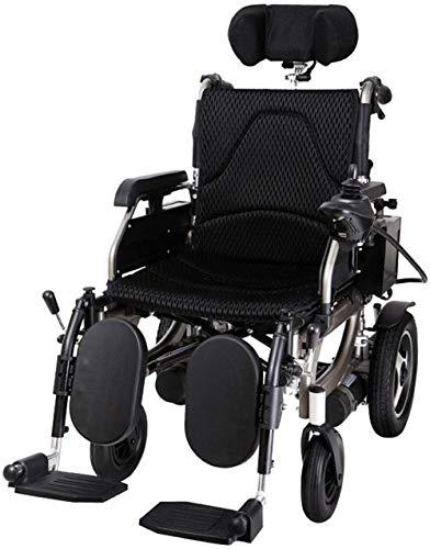 Silla de ruedas eléctrica plegable con respaldo extraíble reposacabezas ajustable y batería de polímero de iones de litio.